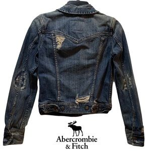 abercrombie & fitch distressed faded  jean jacket